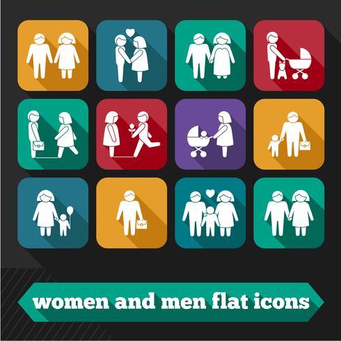Icone di donne e uomini vettore