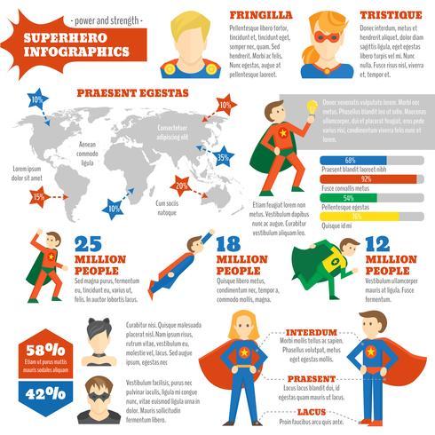 Infografica super eroe vettore