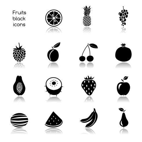 Icone di frutta nere vettore