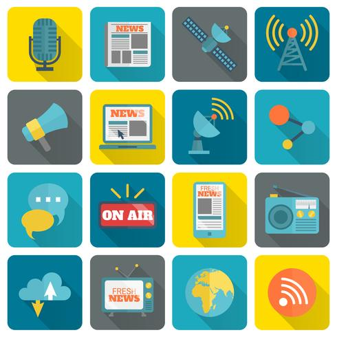 Set di icone dei media vettore