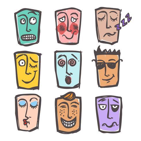 Emoticon di schizzo set colorato vettore