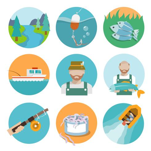 Set di icone piatte di pesca vettore