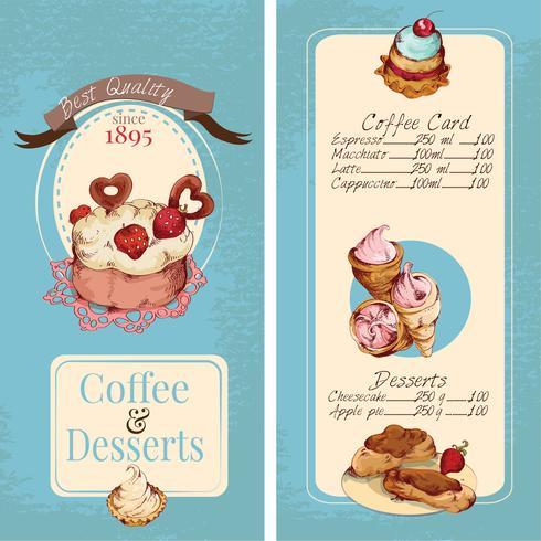 Modello di menu dessert vettore
