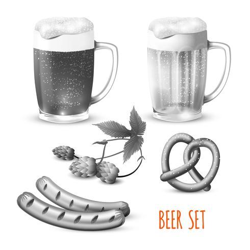 Birra impostata in bianco e nero vettore