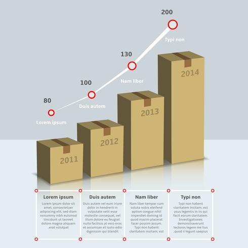 Crescita di scatole di cartone infografica vettore
