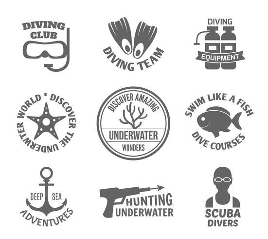 Set di etichette subacquee vettore