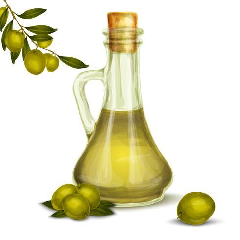 Bottiglia di olio d'oliva vettore