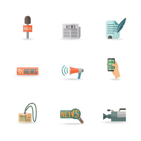 Set di icone giornalista giornalista vettore