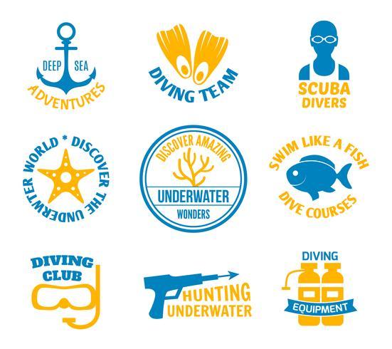 Set di sigilli subacquei vettore