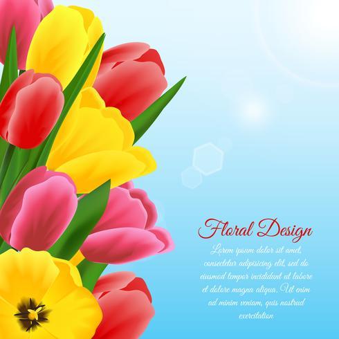 Sfondo di disegno tulipano vettore