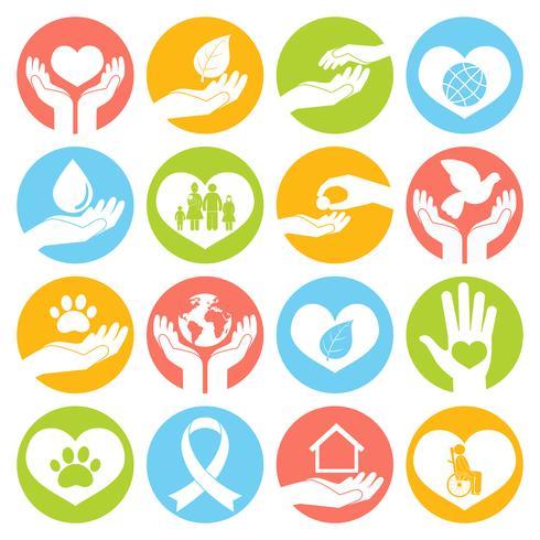 Icone di beneficenza e donazione bianche vettore