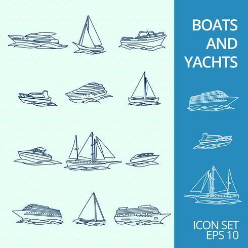 Set di icone di barche vettore