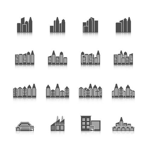 Set di icone del paesaggio urbano vettore