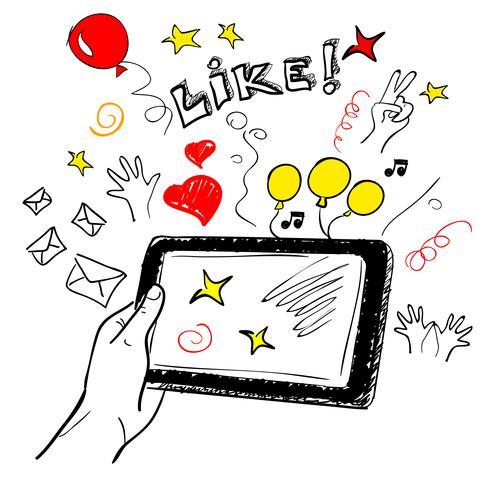 Schizzo a mano touchscreen social vettore