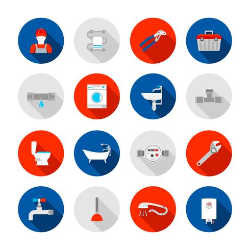 Set di icone di impianti idraulici vettore