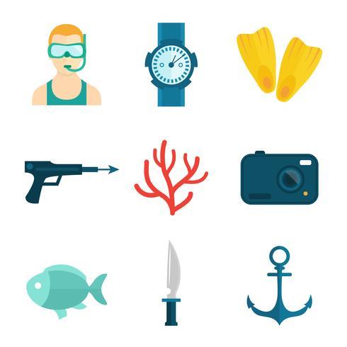 Icone subacquee piatte vettore