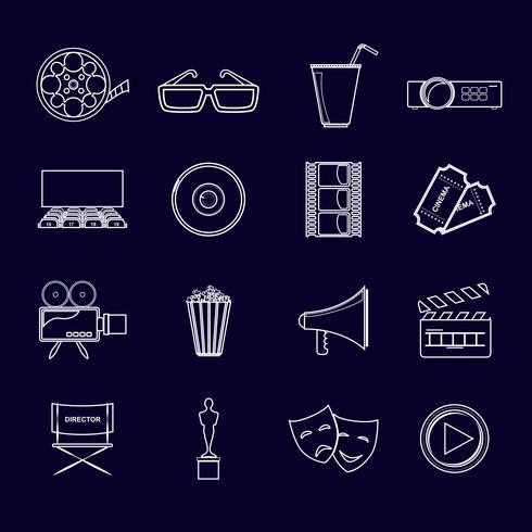 Icone del cinema contorno vettore