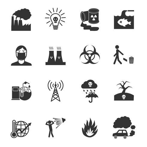 Set di icone di inquinamento vettore