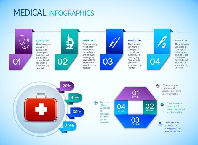 Modello medico di infographics di origami vettore