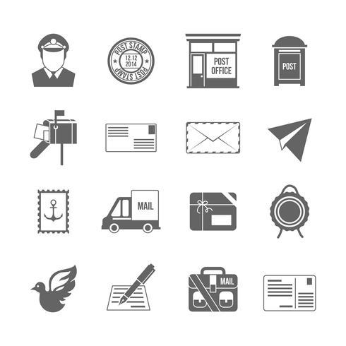 Icona di servizio post nero vettore