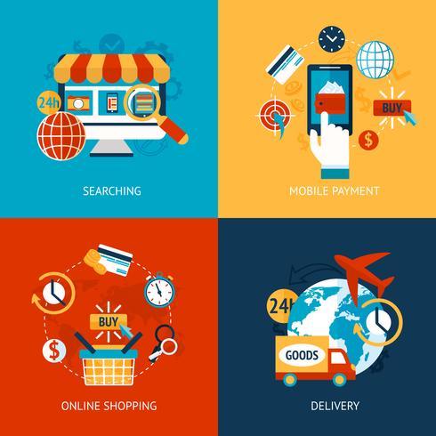 Set piatto per lo shopping online vettore