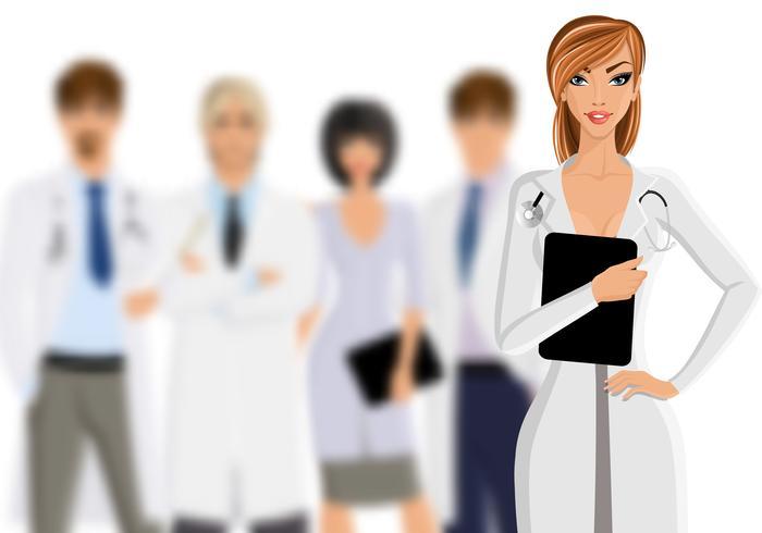 Medico con personale medico vettore