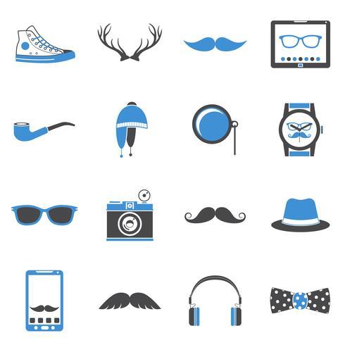 Set di icone di hipster vettore