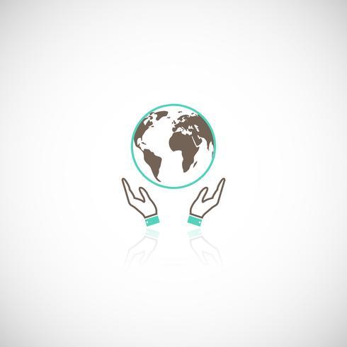 Icona delle mani di terra vettore