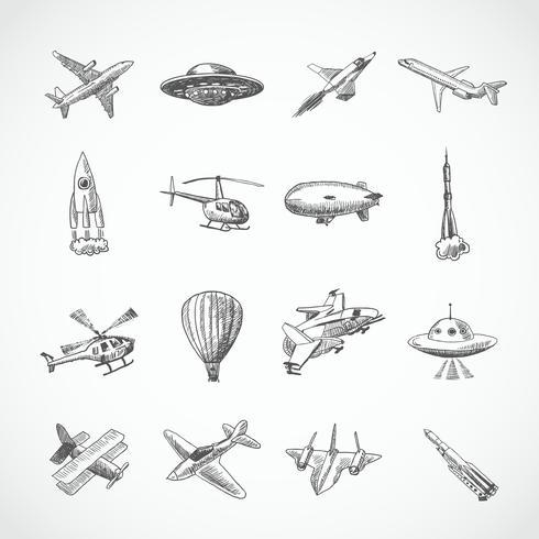 Schizzo di icone di aeromobili vettore