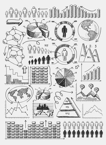 Schizzo diagrammi infografica vettore