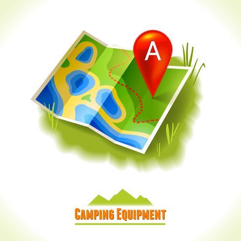 Mappa di viaggio simbolo campeggio vettore