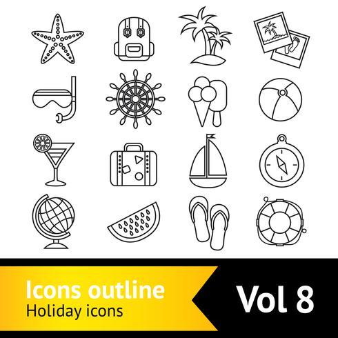 Set di icone di vacanza vacanza vettore