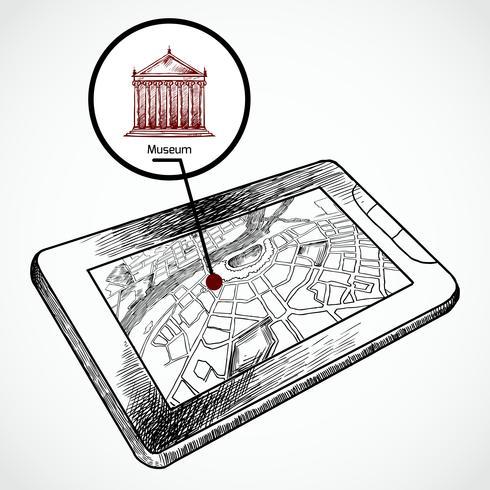 Schizzo disegnare tablet pc con mappa di navigazione vettore