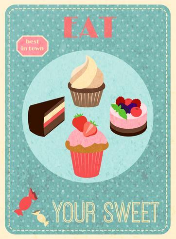 Poster retrò di dolci vettore