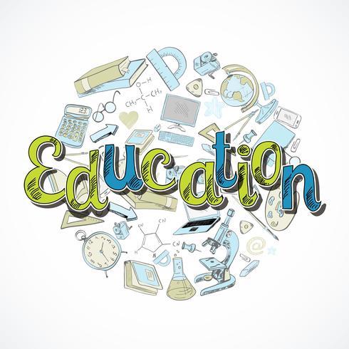 Doodle di icona di educazione vettore