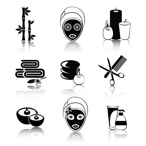 Set di icone di spa in bianco e nero vettore