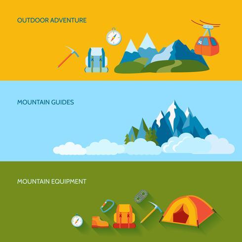 Set di banner di campeggio vettore