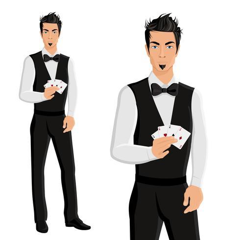 Ritratto del commerciante del casinò dell'uomo vettore
