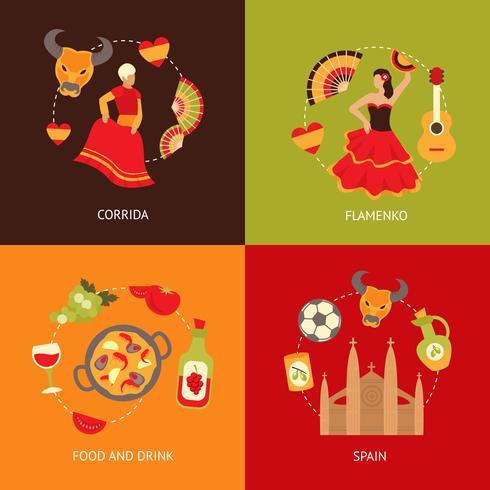 Insieme della composizione delle icone della Spagna vettore