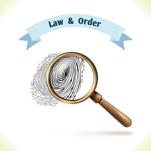 Impronta digitale icona di legge sotto lente d'ingrandimento vettore