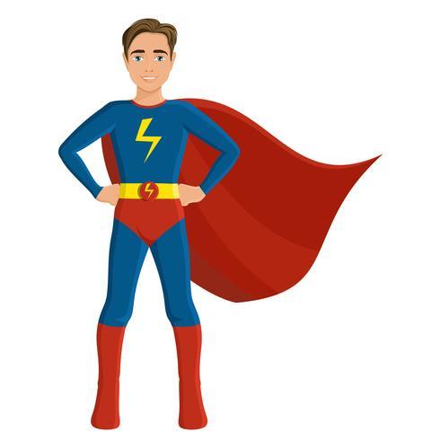 Ragazzo in costume da supereroe vettore