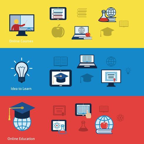 Banner di educazione online vettore