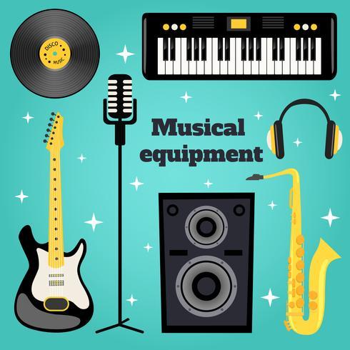 Set di attrezzature musicali vettore