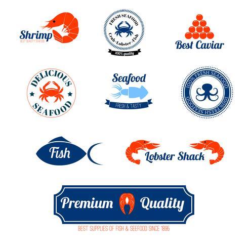 Set di icone di etichette di frutti di mare vettore