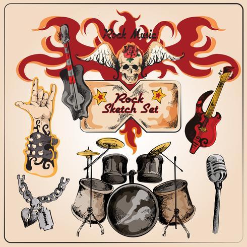 Set di abbozzo colorato di musica rock vettore