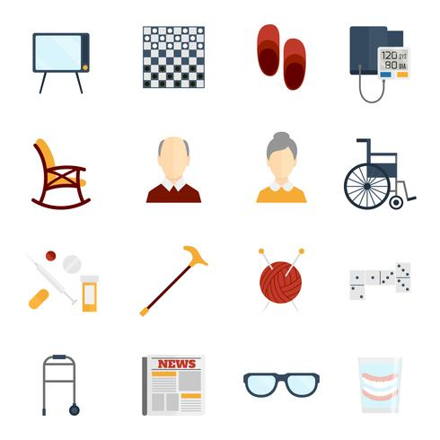 Icone di vita dei pensionati piatte vettore