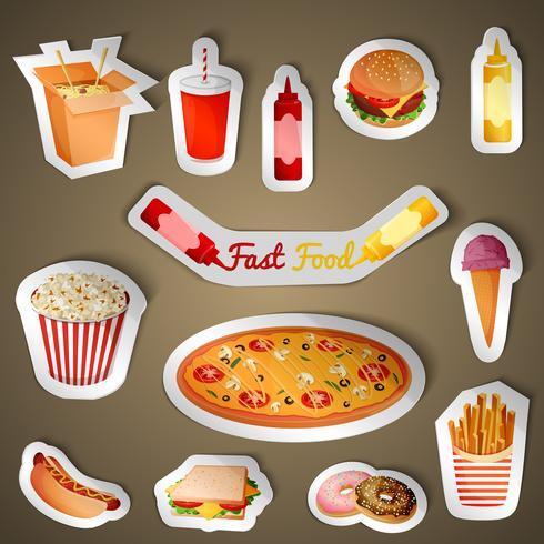 Adesivi fast food vettore