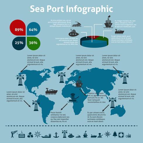 Infografica porto marittimo vettore