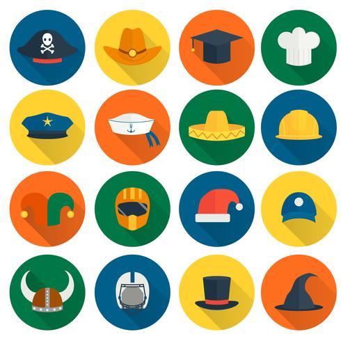 Cappello icone piatte vettore