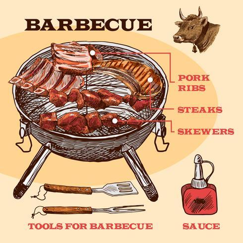 Barbecue di carne di schizzo infografica vettore